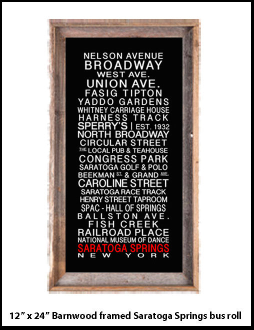 Saratoga Springs barnwood framed bus roll print