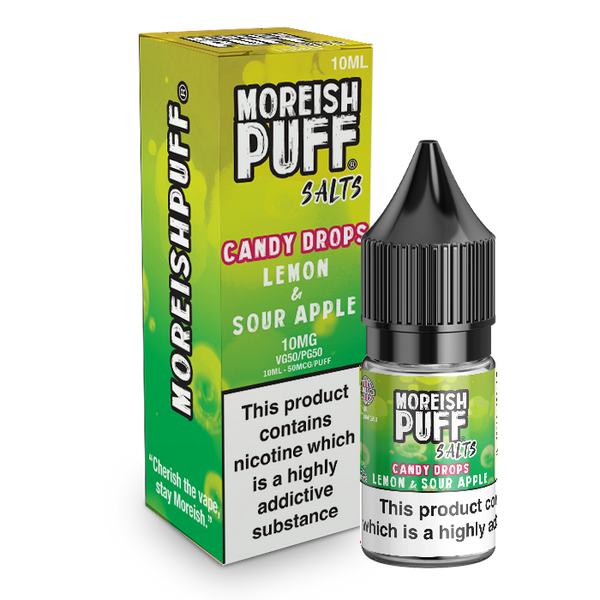 Moreish Puff Lemon and Sour Apple Candy Drops Nic Salt 10ml TPD