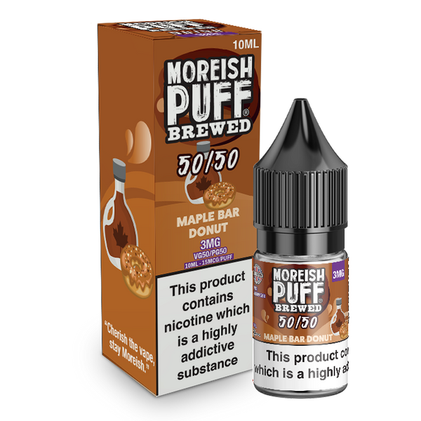 Moreish Puff Brewed 50/50: Maple Bar Donut 10ml E-Liquid
