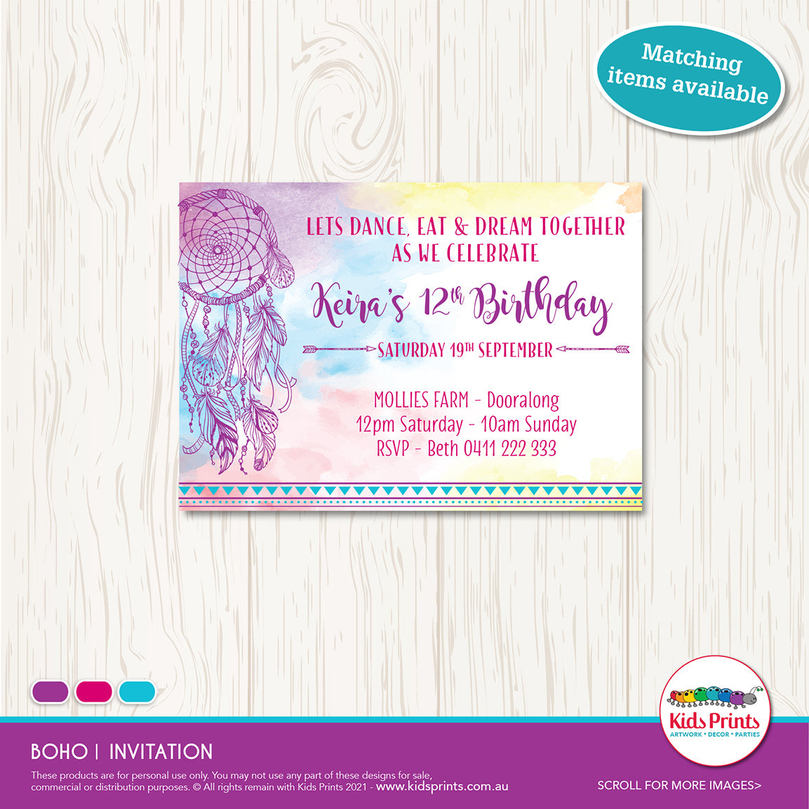 Boho | Birthday Invitation | Party Printables - Kids Prints Online