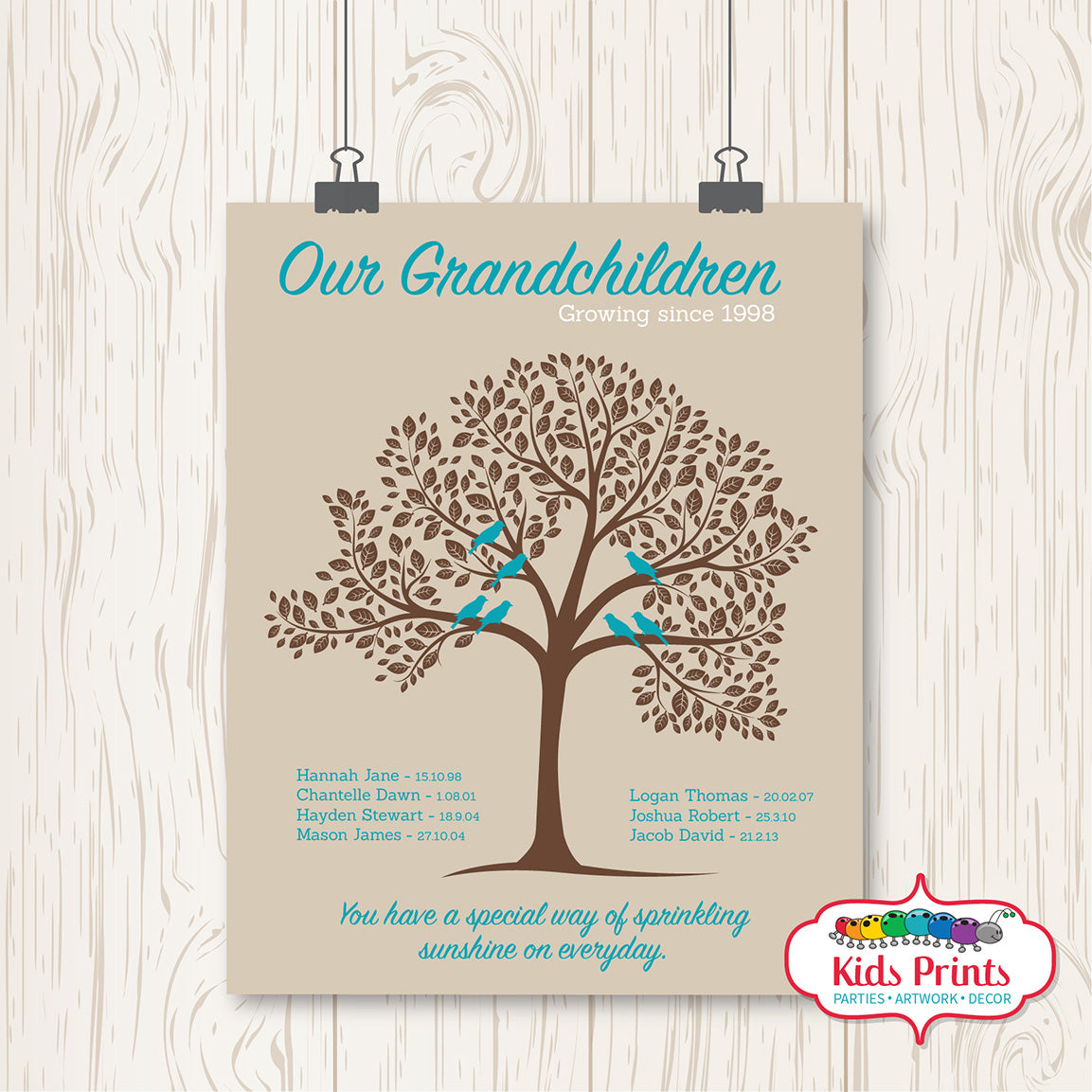 Family Tree Print - Personalised - Kids Prints Online - kids wall art printable - nursery art printable - printable invitations - digital invitations - kids wall art - kids prints