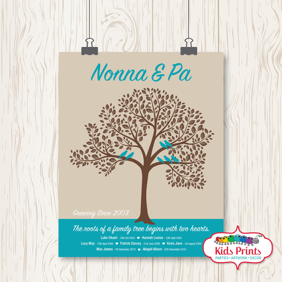 Family Tree Print - Nonna & Pa - Kids Prints Online - kids wall art printable - nursery art printable - printable invitations - digital invitations - kids wall art - kids prints