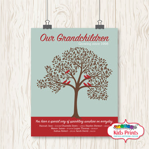 Family Tree Print - Burgundy & Brown - Kids Prints Online - kids wall art printable - nursery art printable - printable invitations - digital invitations - kids wall art - kids prints