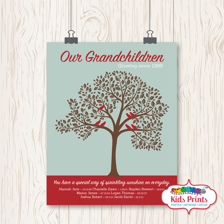 Family Tree Print - Burgundy & Brown - Kids Prints Online