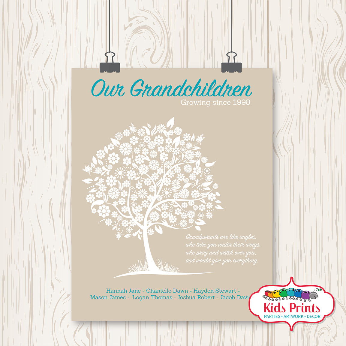 Family Tree Print - Beige - Kids Prints Online