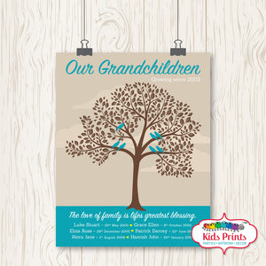 Family Tree Print - Our Grandchildren - Kids Prints Online - kids wall art printable - nursery art printable - printable invitations - digital invitations - kids wall art - kids prints