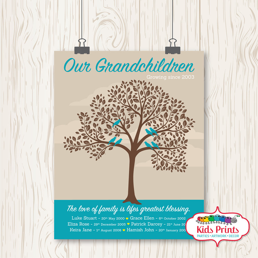 Family Tree Print - Our Grandchildren - Kids Prints Online