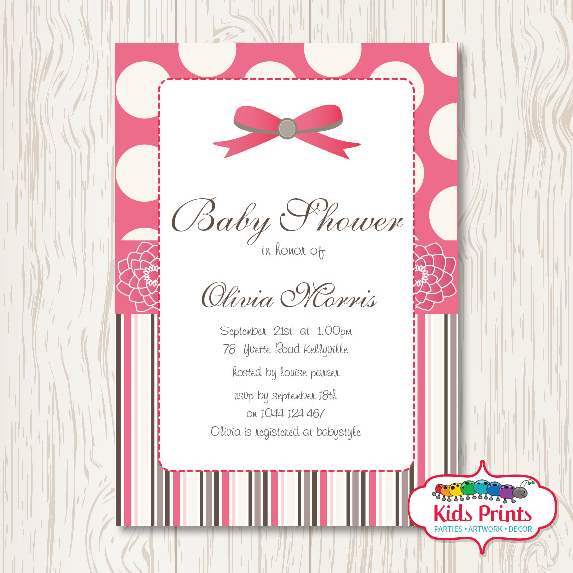 Pink Bow | Printable Baby Shower Invitation - Kids Prints Online - kids wall art printable - nursery art printable - printable invitations - digital invitations - kids wall art - kids prints