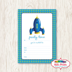 Rocket Birthday Invitation - Kids Prints Online - kids wall art printable - nursery art printable - printable invitations - digital invitations - kids wall art - kids prints