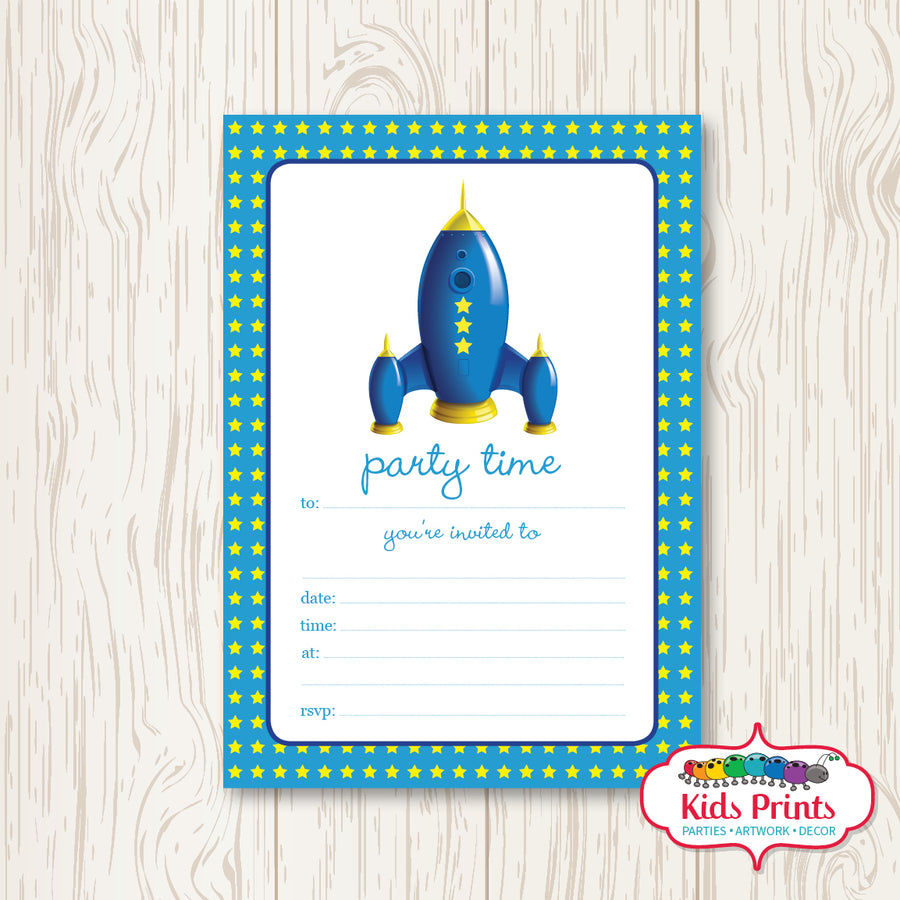 Rocket Printable Birthday Invitation - Kids Prints Online - kids wall art printable - nursery art printable - printable invitations - digital invitations - kids wall art - kids prints