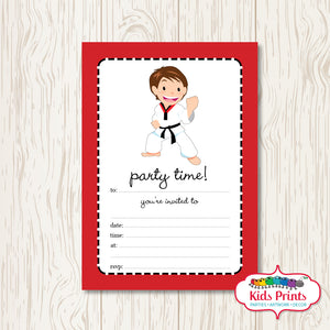 Boys Taekwondo Printable Birthday Invitation