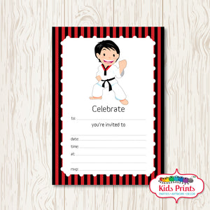 Boys Taekwondo Printable Birthday Invitation - Kids Prints Online - kids wall art printable - nursery art printable - printable invitations - digital invitations - kids wall art - kids prints