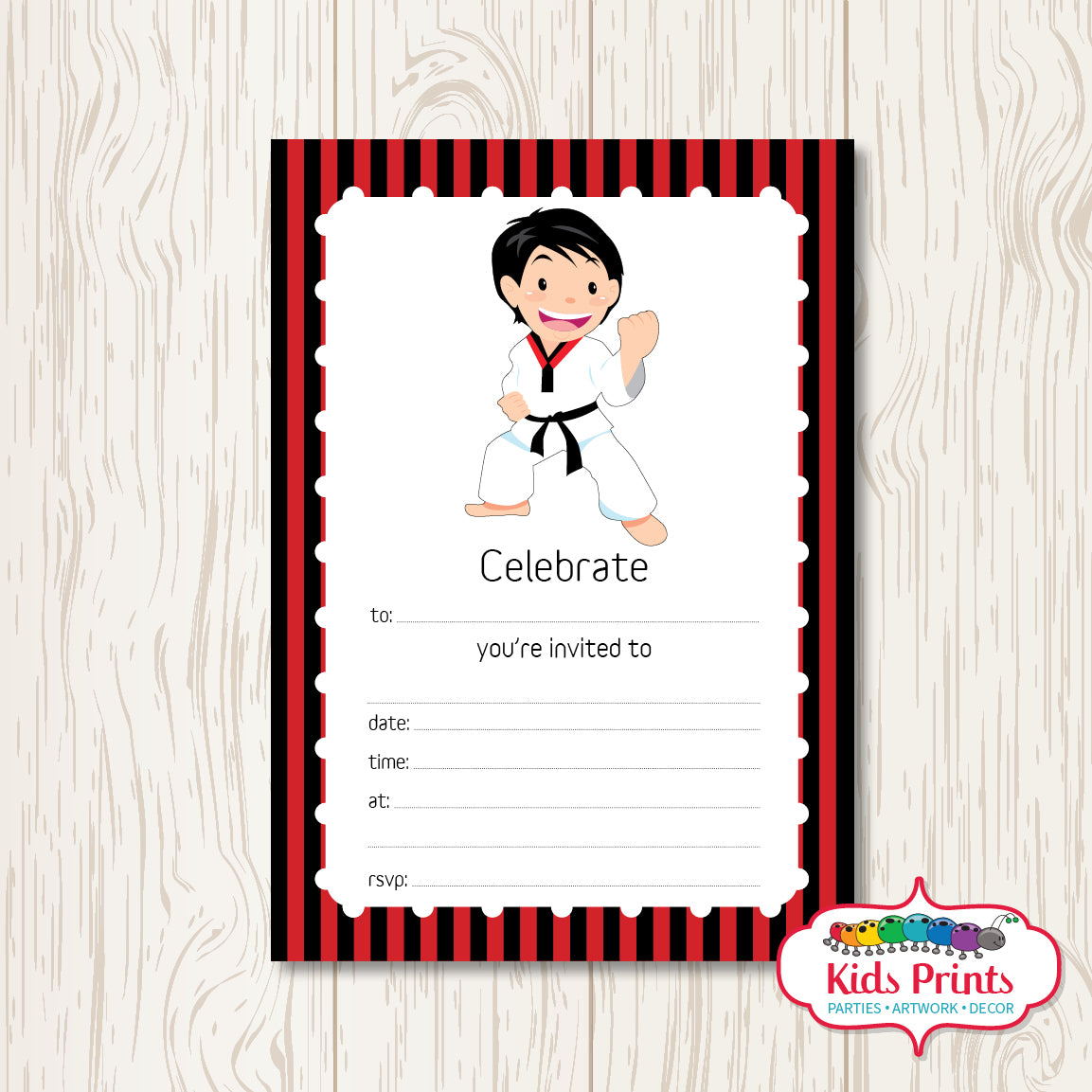 Taekwondo Printable Birthday Invitation - Kids Prints Online - kids wall art printable - nursery art printable - printable invitations - digital invitations - kids wall art - kids prints