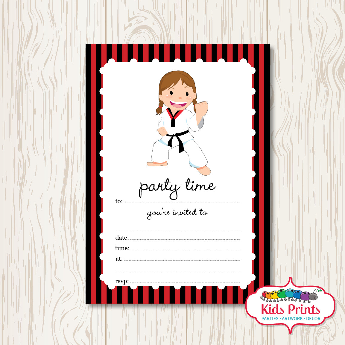 Girls Taekwondo Printable Birthday Invitation - Kids Prints Online - kids wall art printable - nursery art printable - printable invitations - digital invitations - kids wall art - kids prints