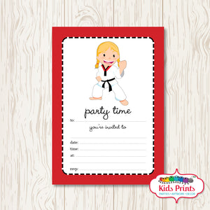 Girls Taekwondo Printable Birthday Invitation - Kids Prints Online