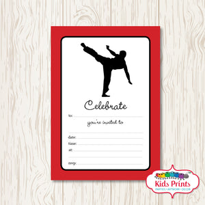 Taekwondo Printable Birthday Invitation