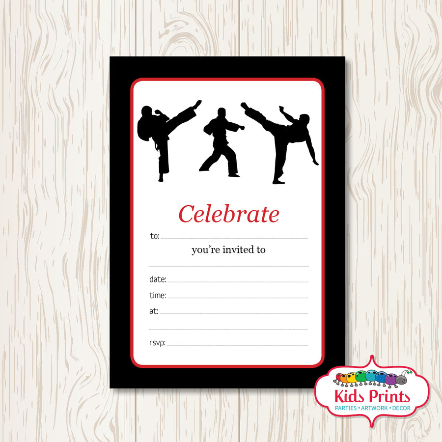 Taekwondo Printable Birthday Invitation - Kids Prints Online
