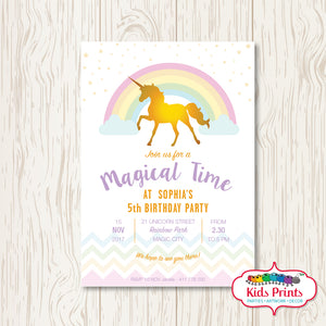 Unicorn Printable Birthday Invitation - Kids Prints Online