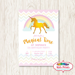 Magical Unicorn Printable Birthday Invitation - Kids Prints Online - kids wall art printable - nursery art printable - printable invitations - digital invitations - kids wall art - kids prints
