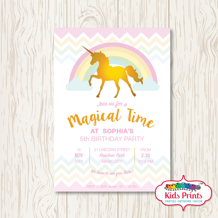 Unicorn Printable Birthday Invitation