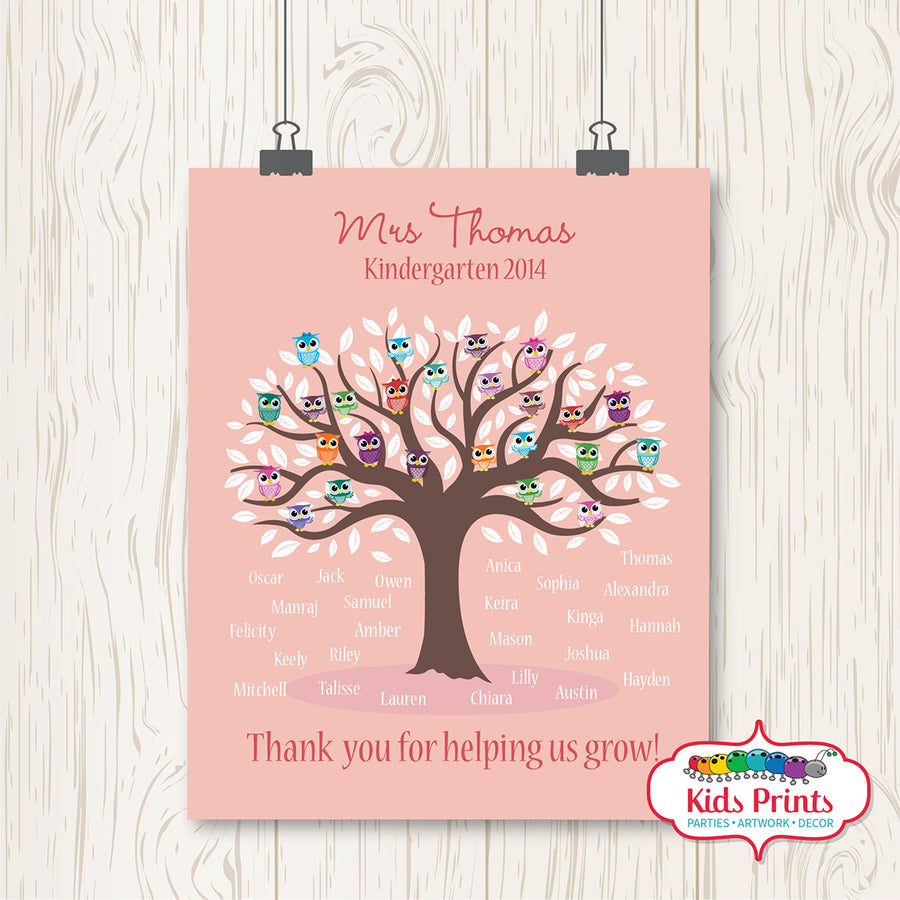 Owls Teachers Print - Kids Prints Online - kids wall art printable - nursery art printable - printable invitations - digital invitations - kids wall art - kids prints