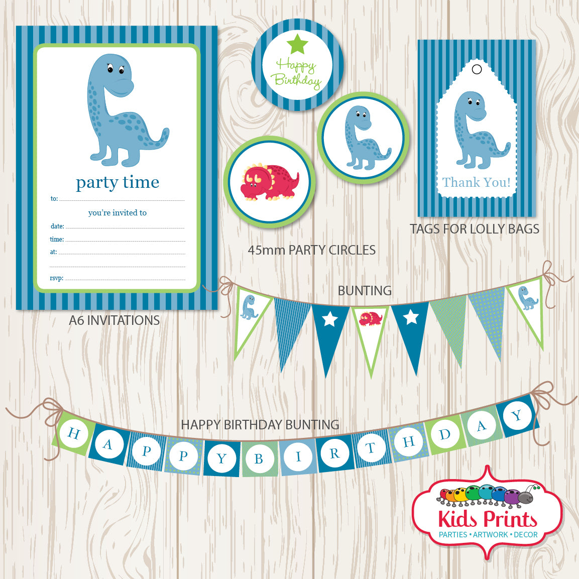 Blue Dinosaur Printable Party Stationery - Kids Prints Online - kids wall art printable - nursery art printable - printable invitations - digital invitations - kids wall art - kids prints