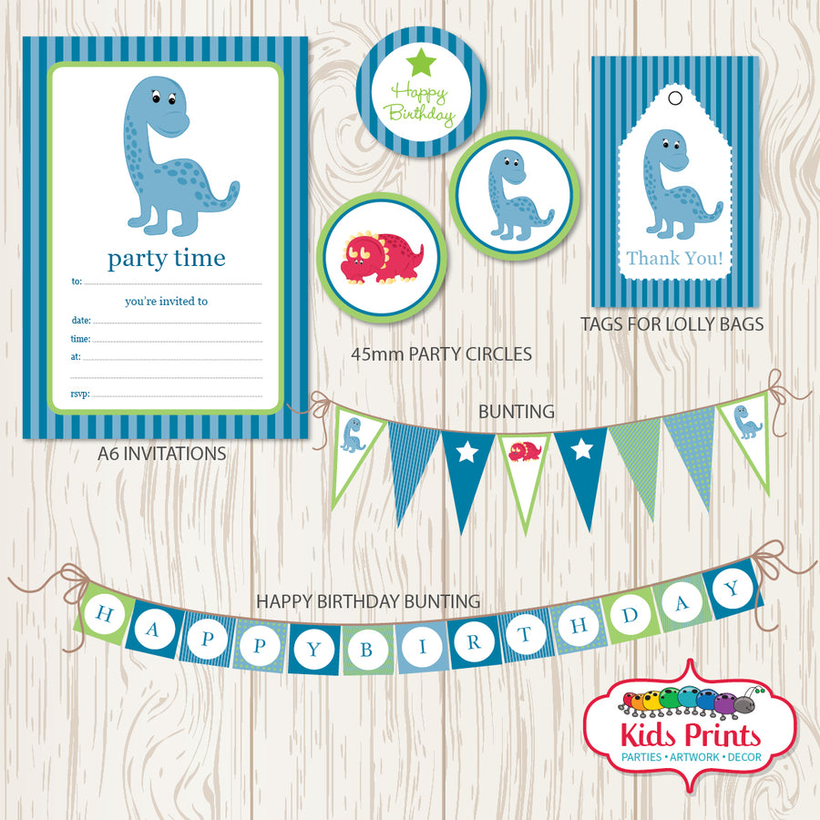Blue Dinosaur Party | Printable Stationery - Kids Prints Online - kids wall art printable - nursery art printable - printable invitations - digital invitations - kids wall art - kids prints