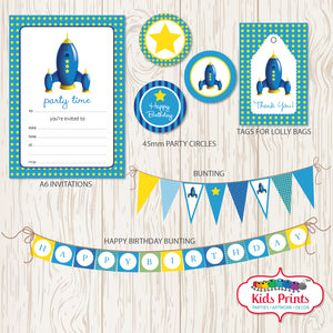 Blue Rocket Printable Party Stationery - Kids Prints Online - kids wall art printable - nursery art printable - printable invitations - digital invitations - kids wall art - kids prints