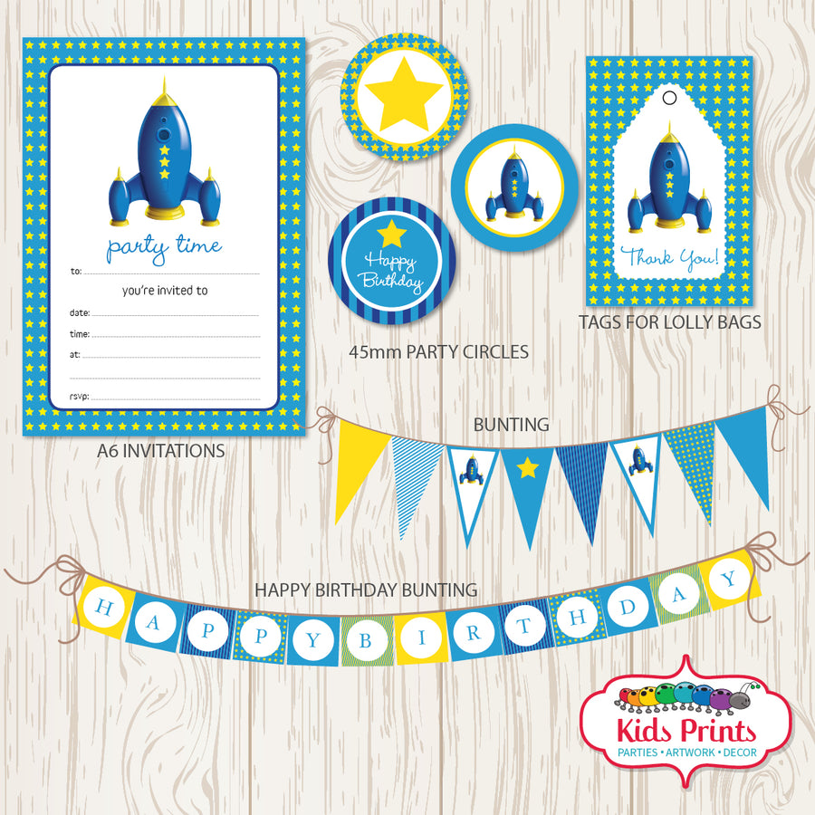 Blue Rocket Party | Printable Stationery - Kids Prints Online - kids wall art printable - nursery art printable - printable invitations - digital invitations - kids wall art - kids prints
