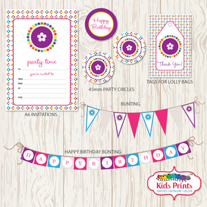 Coloured Dots Printable Party Pack