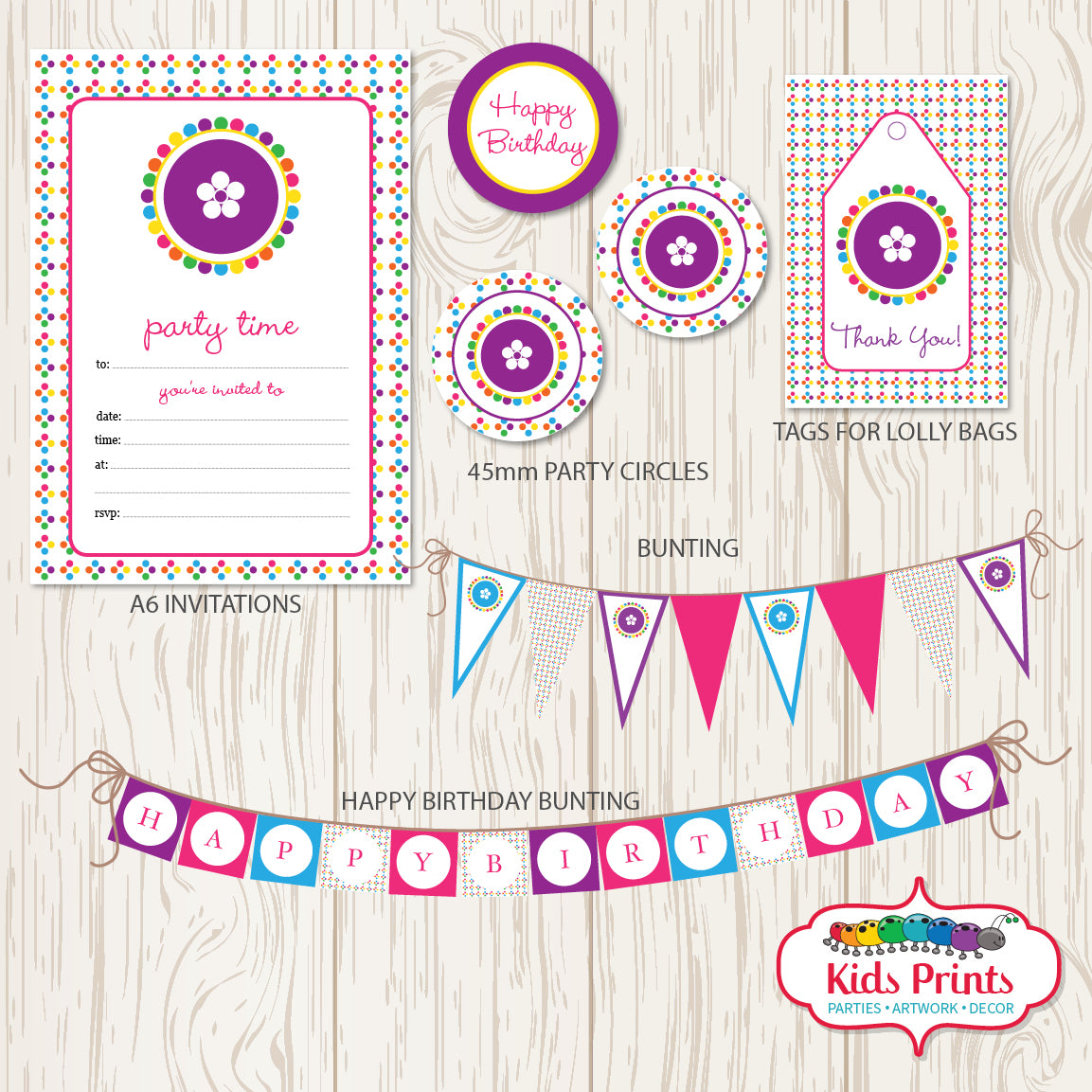 Coloured Dots Printable Party Stationery - Kids Prints Online - kids wall art printable - nursery art printable - printable invitations - digital invitations - kids wall art - kids prints