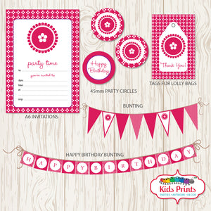 Pink Dots Party | Printable Stationery - Kids Prints Online - kids wall art printable - nursery art printable - printable invitations - digital invitations - kids wall art - kids prints
