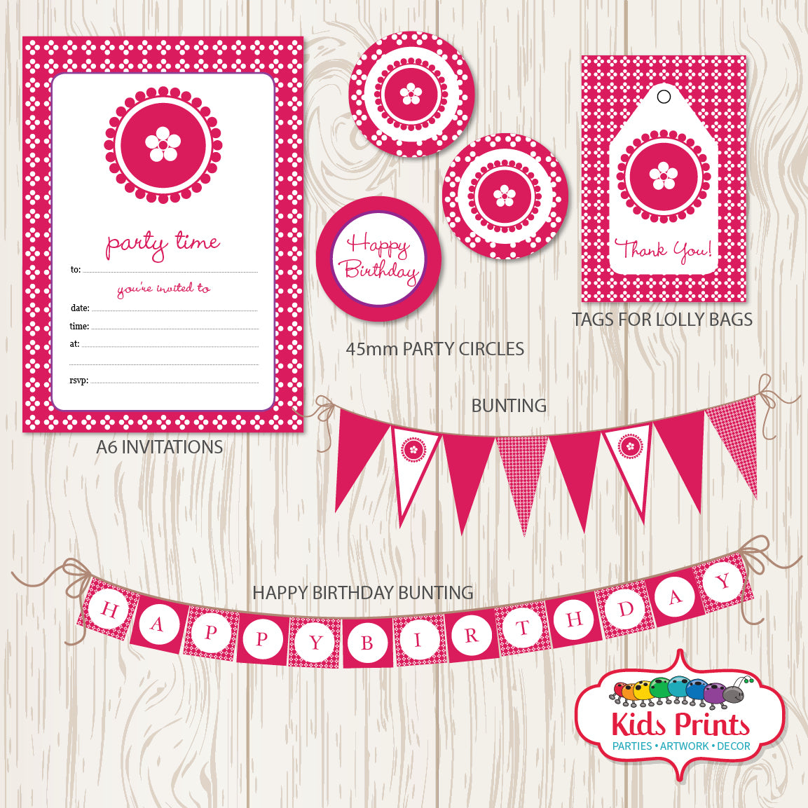 Pink Dots Printable Party Stationery - Kids Prints Online - kids wall art printable - nursery art printable - printable invitations - digital invitations - kids wall art - kids prints