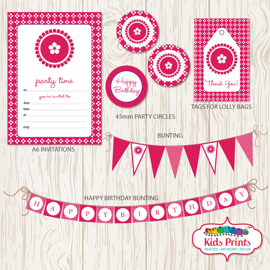 Pink Dots Party | Printable Stationery - Kids Prints Online