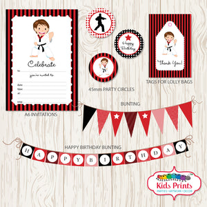 Taekwondo Party | Printable Stationery - Kids Prints Online - kids wall art printable - nursery art printable - printable invitations - digital invitations - kids wall art - kids prints