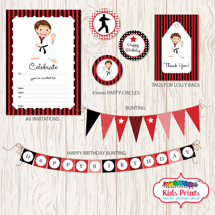 Taekwondo Party | Printable Stationery - Kids Prints Online