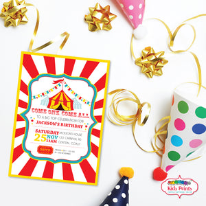Circus Party | Birthday Invitation - Kids Prints Online - kids wall art printable - nursery art printable - printable invitations - digital invitations - kids wall art - kids prints