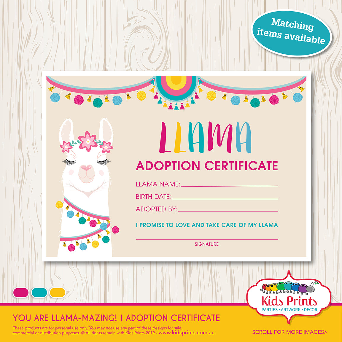 Llama Party - A4 Adoption Certificate - Kids Prints Online - kids wall art printable - nursery art printable - printable invitations - digital invitations - kids wall art - kids prints