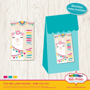 Llama Party | Thank you Tag - Kids Prints Online