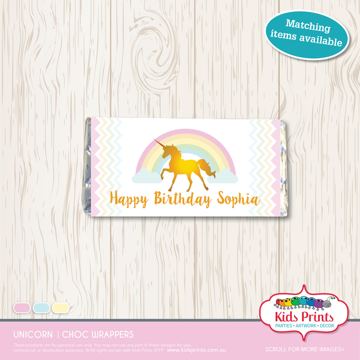 Unicorn Party | Chocolate Wrapper - Kids Prints Online