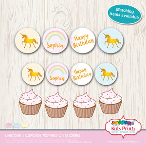 Unicorn - Circle Cupcake toppers / Stickers - Pink - Kids Prints Online - kids wall art printable - nursery art printable - printable invitations - digital invitations - kids wall art - kids prints