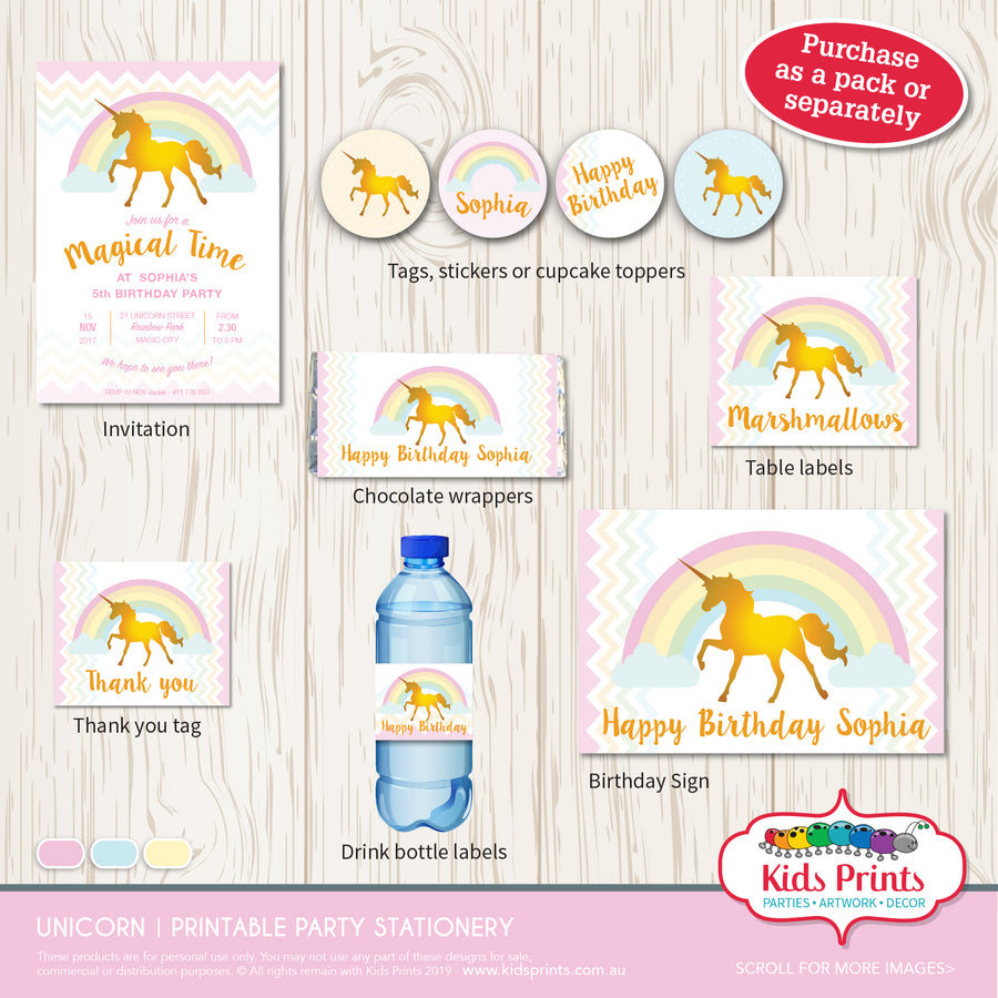 Unicorn Party | Table Labels - Kids Prints Online
