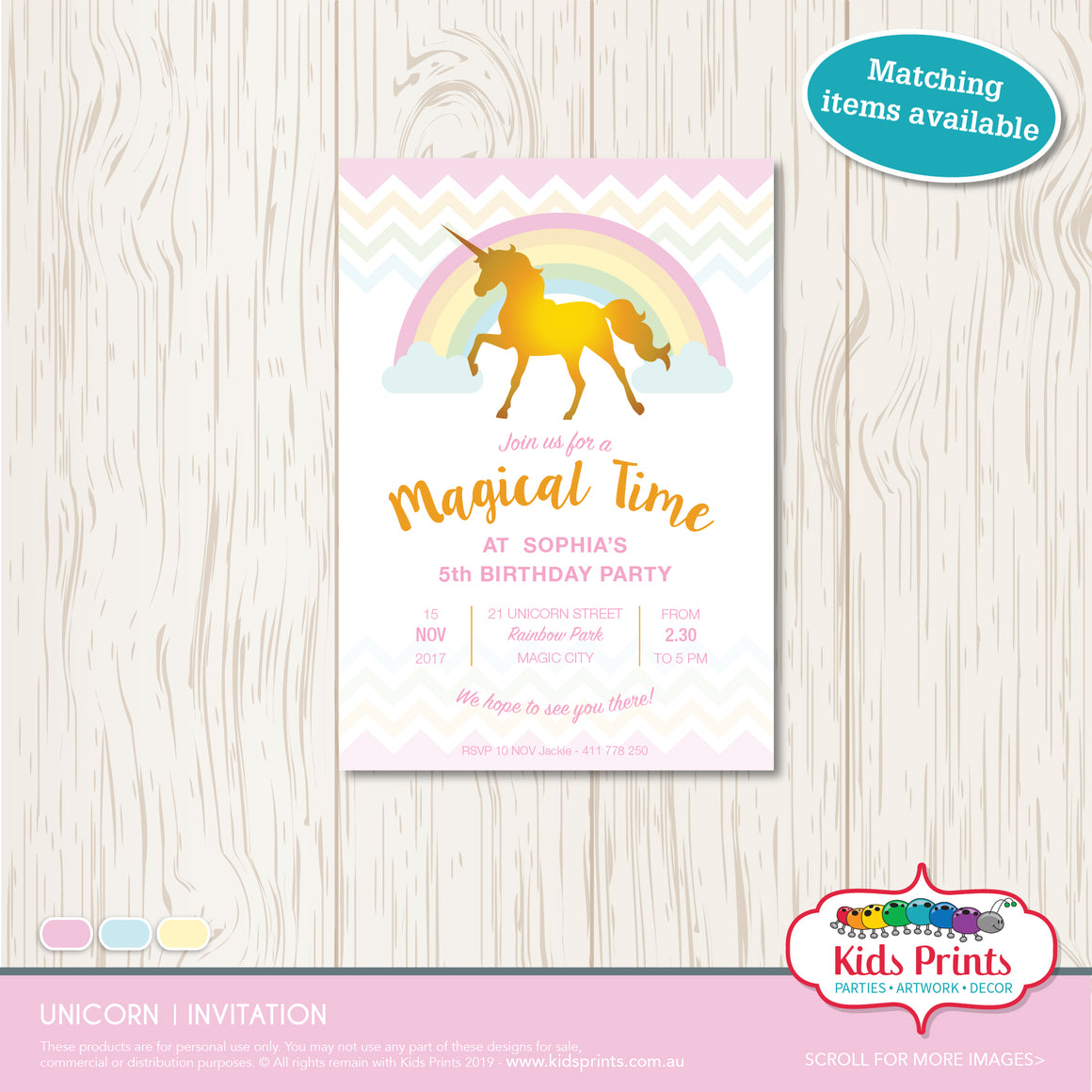 Unicorn Party | Invitation - Kids Prints Online