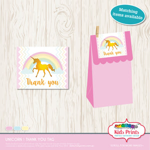 Unicorn Party | Thank you Tag - Kids Prints Online