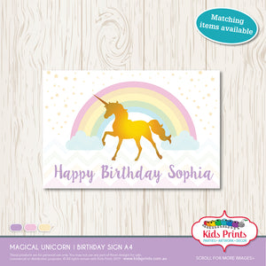 Magical Unicorn Party | A4 Sign - Kids Prints Online