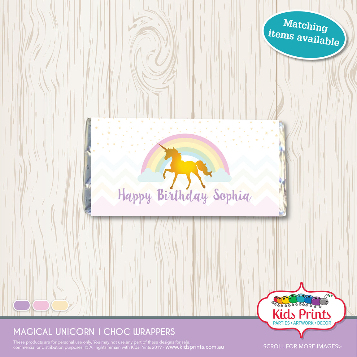 Magical Unicorn Party | Chocolate Wrapper - Kids Prints Online - kids wall art printable - nursery art printable - printable invitations - digital invitations - kids wall art - kids prints