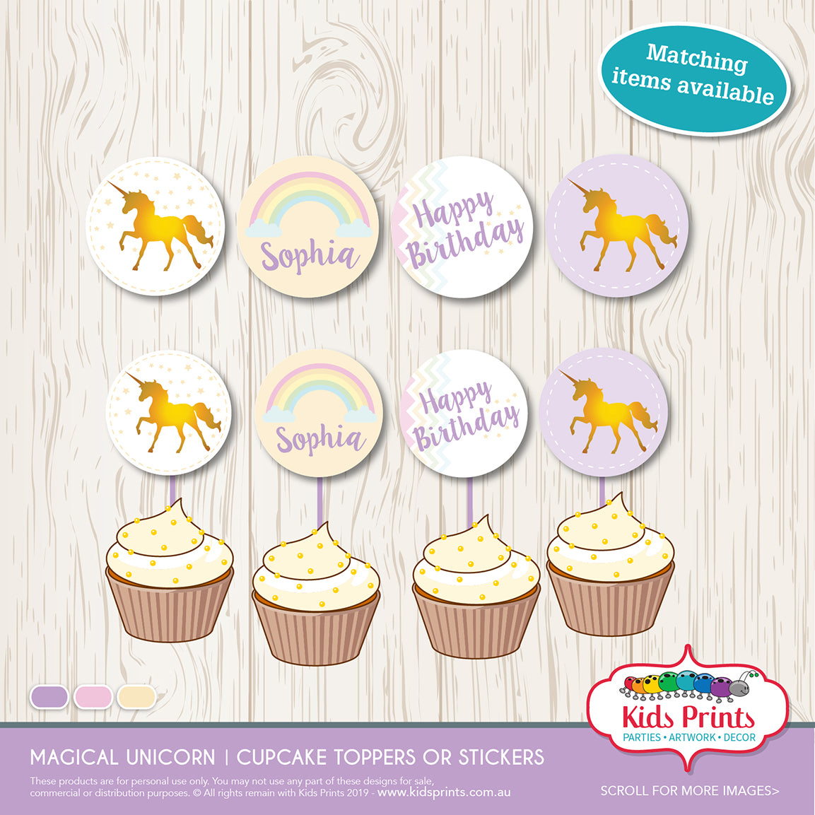Magical Unicorn Party | Circle Cupcake Toppers | Stickers - Kids Prints Online - kids wall art printable - nursery art printable - printable invitations - digital invitations - kids wall art - kids prints