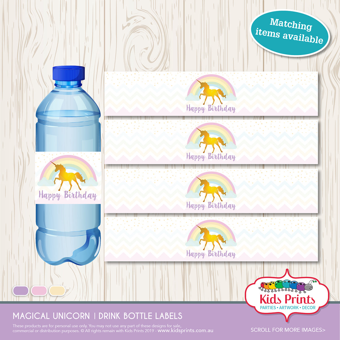 Magical Unicorn Party | Drink Bottle Label - Kids Prints Online - kids wall art printable - nursery art printable - printable invitations - digital invitations - kids wall art - kids prints