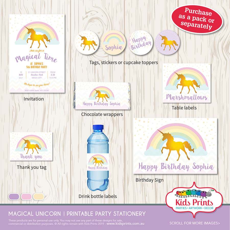 Magical Unicorn Party | A4 Sign - Kids Prints Online - kids wall art printable - nursery art printable - printable invitations - digital invitations - kids wall art - kids prints