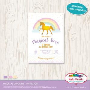 Magical Unicorn Party | Invitation - Kids Prints Online